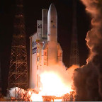 The March 9 launch of an Ariane 5 rocket carrying the  Eutelsat-65 West A commercial telecommunications satellite. Credit: Arianespace