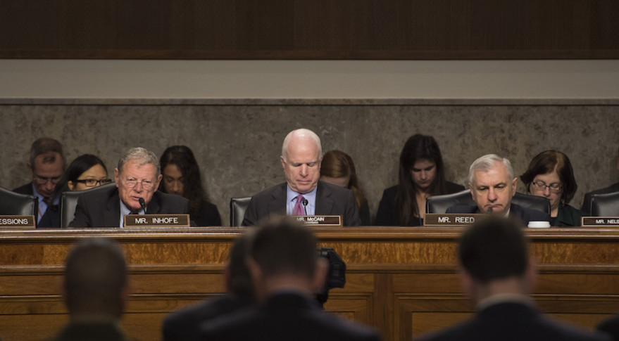 Sen. John McCain, center, opened a March 17 Senate Armed Services Committee hearing by asking Defense Secretary Ash Carter to investigate controversial statements that cost a ULA executive his job. Credit: DoD/Senior Master Sgt. Adrian Cadiz