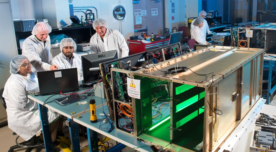 NASA Saffire scientists and engineers test the components of Saffire-1 (background) and Saffire-2 (foregound) at NASA's Glenn Research Center. Credit: NASA