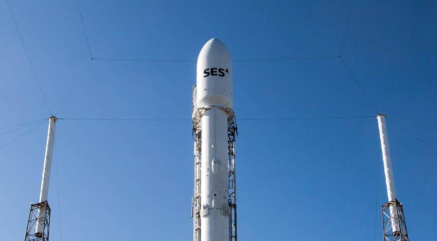 Falcon 9 will make a fifth attempt Friday to launch the SES-9 satellite. Credit: SpaceX