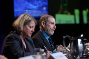 Doug Loverro (right), the deputy assistant defense secretary for space policy, and Pam Melroy, the deputy director of DARPA's Tactical Technology Office, during an April 13 panel discussion at the 32nd Space Symposium. Credit: Tom Kimmell