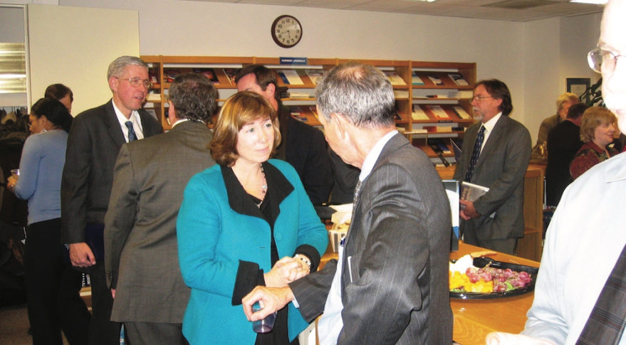 Lori Garver and Mike Griffin's tête-à-tête at a Dec. 8, 2008 book reception at NASA Headquarters served as fodder for an Orlando Sentinel story on tensions between Griffin and the Obama transition team. Credit: Steven Dick