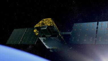Artist view of an IRIDIUM NEXT satellite. The IRIDIUM NEXT operation is a modernisation programme of Iridium satellites. Iridium is a provider of mobile satellite communications services.