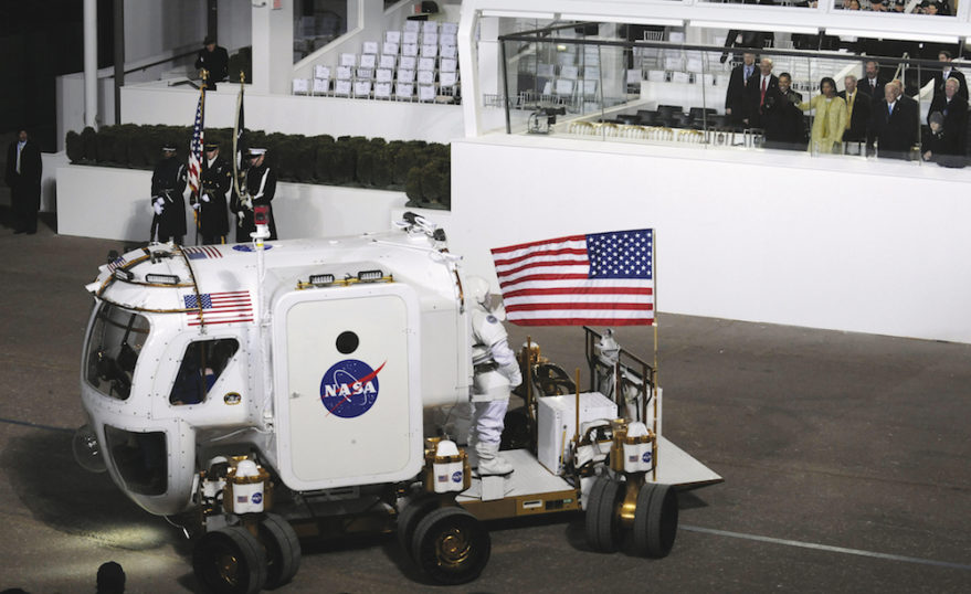 U.S. President Barack Obama views a prototype NASA rover during a parade marking his 2009 inauguration. Credit: NASA