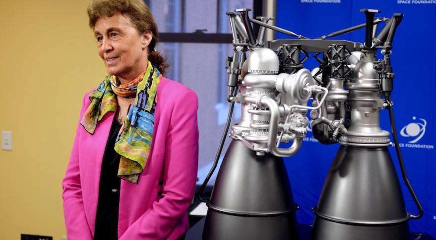 Aerojet Rocketdyne's Julie Van Kleeck doing a television interview following an April 12 media roundtable at the 32nd Space Symposium. Credit: SpaceNews/Brian Berger