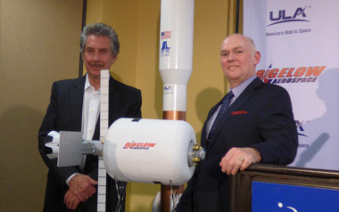 Robert Bigelow (left) and ULA CEO Tory Bruno (right) posed with a model of the the B330 at a press conference Monday afternoon at the 32nd Space Symposium. Credit: SpaceNews/Jeff Foust