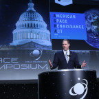 U.S. Rep. Jim Bridenstine (R-Okla.) discussing his American Space Renaissance Act during a keynote address Tuesday at the 32nd Space Symposium. Credit: Tom Kimmell