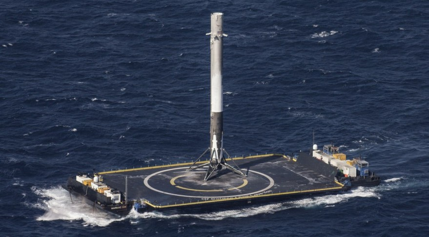 Falcon 9 platform in the sea