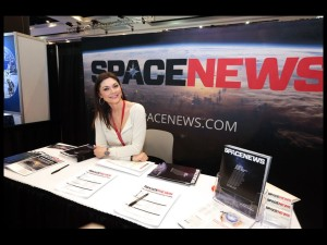 The SpaceNews booth at the 32nd Space Symposium. Credit: Tom Kimmell