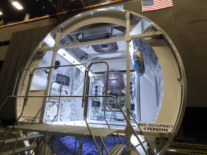 A full-sized model of Lockheed Martin's proposed cislunar habitat module it is developing under a NextSTEP contract with NASA on display at the company's Denver facilities. Credit: SpaceNews/Jeff Foust