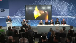 Russian billionaire Yuri Milner (left) was joined by Stephen Hawking and an expert panel that included Pete Worden (far right) i announcing Project Starshot. Credit: Starshot video grab