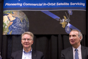 Orbital ATK CEO David W. Thompson and Intelsat CEO Stephen Spengler held a press conference April 12 at the 32nd Space Symposium. Credit: Chuck Bigger