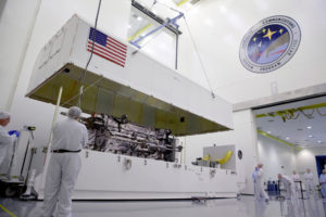 Lockheed Martin's full-sized, functional GPS 3 satellite prototype. Credit: Lockheed Martin