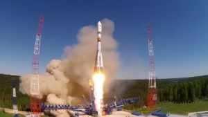 A Russian Soyuz rocket lifts off May 29 carrying a Glonass navigation satellite. Credit: Video grab