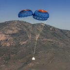 New Shepard deploys parachutes to slow its descent preparation for a powered landing. Credit: Blue Origin