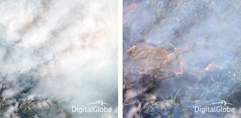Before (first ) and after (second) photos of the 2014 fires in Happy Camp, California that show how SWIR satellite imagery can help customers see through smoke and wildfires. Credit: DigitalGlobe.