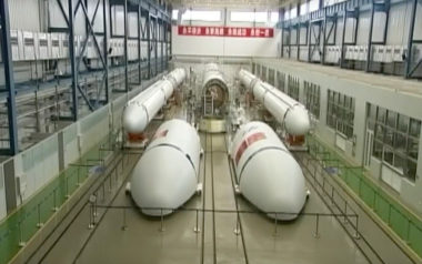 A still from a CCTV video showing China's Long March 7 rocket being packed up for shipment to its launch site.