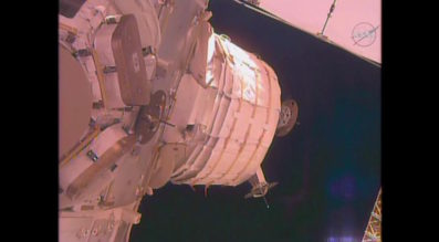The unexpanded BEAM is seen attached to the Tranquility module. Credit: NASA TV