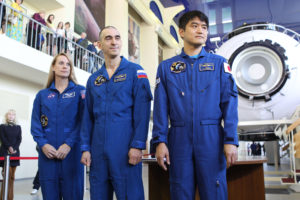 At the Gagarin Cosmonaut Training Center in Star City, Russia, Expedition 48-49 prime crewmembers Kate Rubins of NASA (left), Anatoly Ivanishin of Roscosmos (center) and Takuya Onishi of the Japan Aerospace Exploration Agency (right) pose for pictures May 26 during a final qualification exam session. Rubins, Onishi and Ivanishin will launch June 24 on the Soyuz MS-01 spacecraft from the Baikonur Cosmodrome in Kazakhstan for a four-month mission on the International Space Station.  NASA/Stephanie Stoll