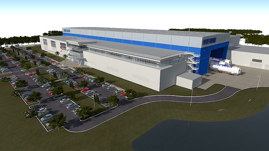 "Artist's rendering of the finished Blue Origin factory in operation. ""Let the rockets roll,"" Bezos wrote."