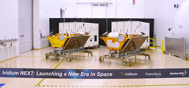 Launch of Iridium's second-generation constellation will start on Sept. 19 aboard SpaceX Falcon 9 rockets, a week later than planned, with the second launch automatically pushed to late December. Credit: Iridium