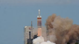 A Delta 4 Heavy rocket carrying a payload for the National Reconnaissance Office lifts off June 11 from Cape Canaveral Air Force Station. Credit: Josh Dinner/SpaceNews