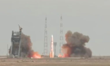 An ILS Proton rocket lifts off from Baikonur Cosmodrome carrying the Intelsat 31 satellite. Credit: video grab