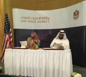 NASA Administrator Charles Bolden and UAE Space Agency Chairman Khalifa Al Romaithi and NASA Administrator Charles Bolden sign an agreement June 12 at a meeting in Abu Dhabi. Credit: UAE Space Agency