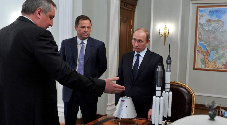 Dmitry Rogozin, left, meets with Roscosmos head Igor Komarov and Russian President Vladimir Putin in April 2015. Credit: Kremlin.ru