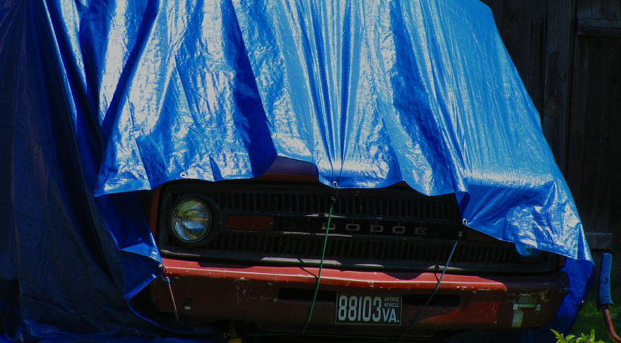 A humble blue tarp of the sort commonly used to protect all manner of possesions from the elements is implicated in the damage a Japanese military satellite suffered during its flight to the launch pad. Credit: Bill Smith/Flickr