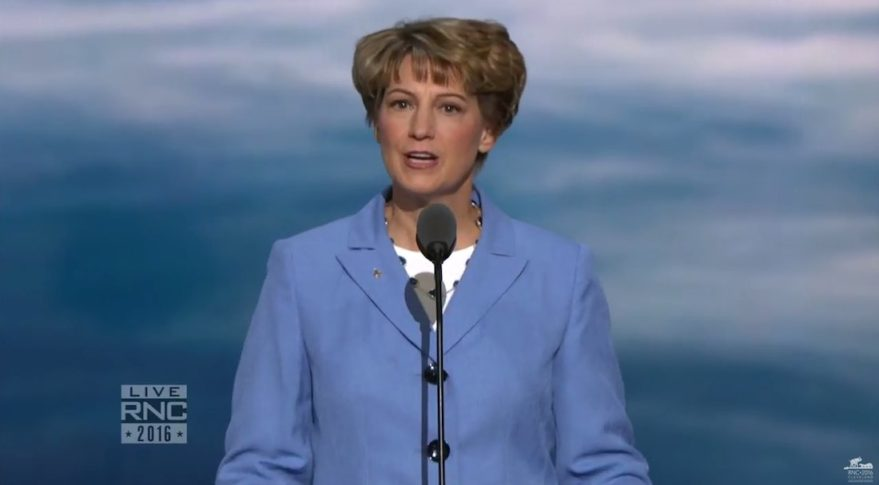 Former astronaut Eileen Collins speaking at the Republican National Convention in Cleveland on July 20. Credit: RNC webcast