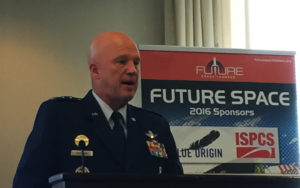 U.S. Air Force Lt. Gen. Jay Raymond speaking July 15 at the Future Space 2016 luncheon at the Reserve Officers Association in Washington. Credit: Future Space Leaders