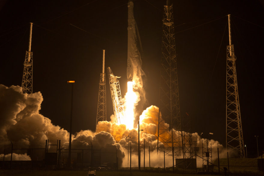 Falcon 9 moments after lifting off from Cape Canaveral's Complex 40 launch pad. Credit: Craig Vander Galien for SpaceNews