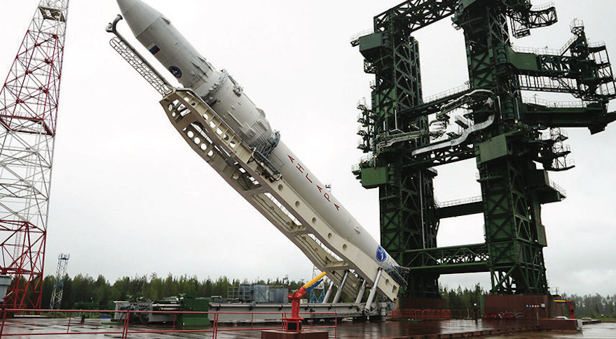 The Angara 1.2 launch vehicle being lifted during pad verticalization at the Plesetsk Cosmodrome in 2014. Credit: International Launch Services