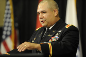 U.S. Army Col. Joseph Guzman speaking Aug. 16 at  the 2016 Space and Missile Defense Symposium at the Von Braun Center in Huntsville, Ala.  Credit: Eric Schultz / Rocket City Photo