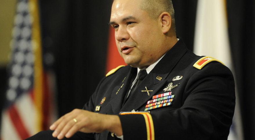 U.S. Army Col. Joseph Guzman speaking Aug. 16 at  the 2016 Space and Missile Defense Symposium at the Von Braun Center in Huntsville, Ala.  Credit: Eric Schultz / Rocket City Photo