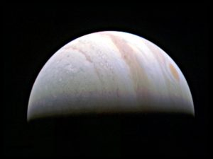 Jupiter's north polar region is coming into view as NASA's Juno spacecraft approaches the giant planet. This view of Jupiter was taken Aug. 27, when Juno was  703,000 kilometers away. Credits: NASA/JPL-Caltech/SwRI/MSSS