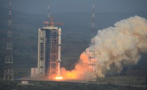 A Long March 4C rocket carrying a Synthetic Aperture Radar imaging satellite lifts off from China's Taiyuan Satellite Launch Center. Credit: Xinhua/Zhang Hongwei