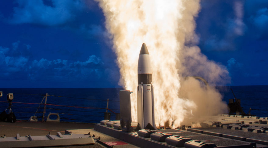 The Missile Defense Agency and U.S. Navy sailors aboard the USS Hopper successfully conducted two developmental flight tests of the Standard Missile-3 (SM-3) Block 1B Threat Upgrade guided missile on May 25 and 26 off the west coast of Hawaii. Credit: MDA.