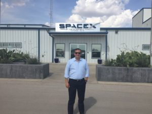 U.S. Sen. Ted Cruz posing for a photo outside the SpaceX Rocket Development Facility in McGregor, Texas. Credit: Sen. Ted Cruz