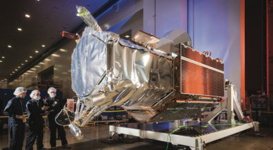Employees at Lockheed Martin complete final preparations of the WorldView-4 imaging satellite as the team prepares for the upcoming launch at Vandenberg Air Force Base. Credit: Lockheed Martin
