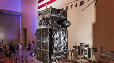 The third SBIRS satellite, the next satellite scheduled to join the U.S. Air Force's Space Based Infrared System (SBIRS), pictured above in final assembly and test at Lockheed Martin in Sunnyvale, California. Credit: Lockheed Martin.