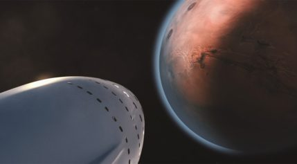 SpaceX artist's concept of interplanetary spaceship arriving at Mars. Credit: SpaceX