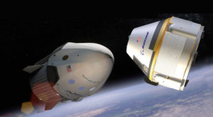 Technical problems could delay the beginning of regular flights by SpaceX's Crew Dragon (left) and Boeing's CST-100 Starliner until at least late 2018. Credit: SpaceX artist's concept and Boeing