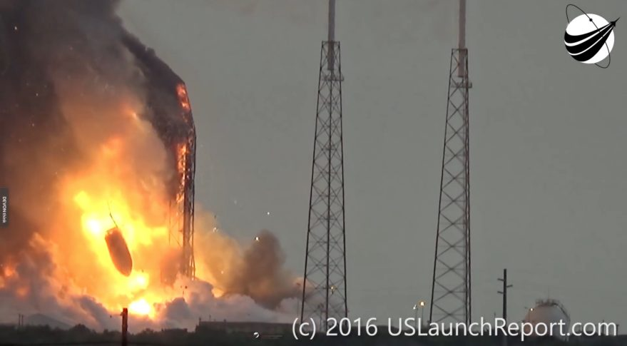 the payload fairing holding the amos 6 satellite falls to the ground following the explosion spacex