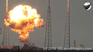 A SpaceX Falcon 9 rocket explodes Sept. 1 during fueling  operation in preparation for a static-fire test.  Credit: USLaunchReport.com video