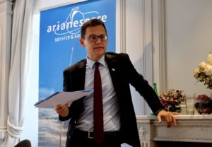 Arianespace CEO Stephane Israel speaks Sept. 12 in Paris. Credit: SpaceNews / Brian Berger