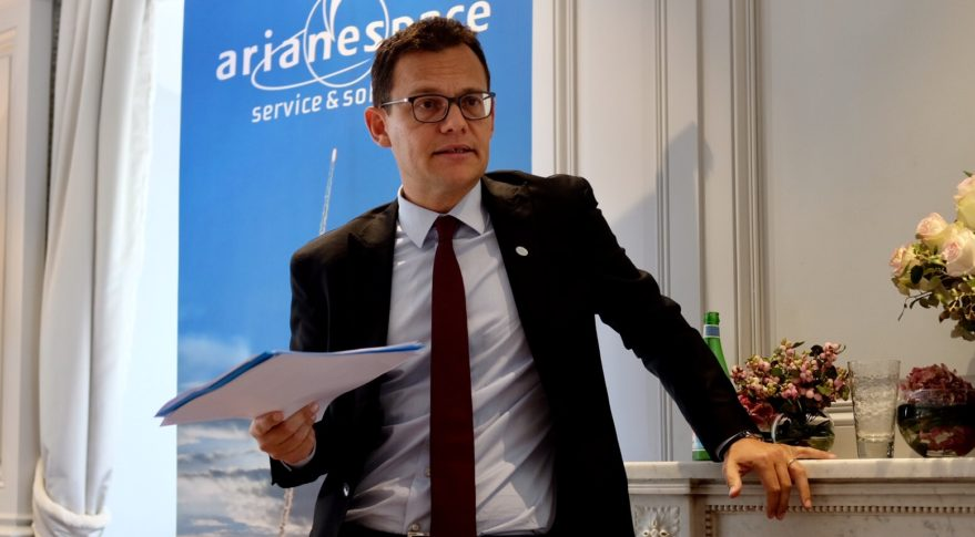Arianespace CEO Stephane Israel, shown above in September 2016,  said the Eumetsat contract came to the European launch provider competitively, despite being a from European government customer. Credit: SpaceNews