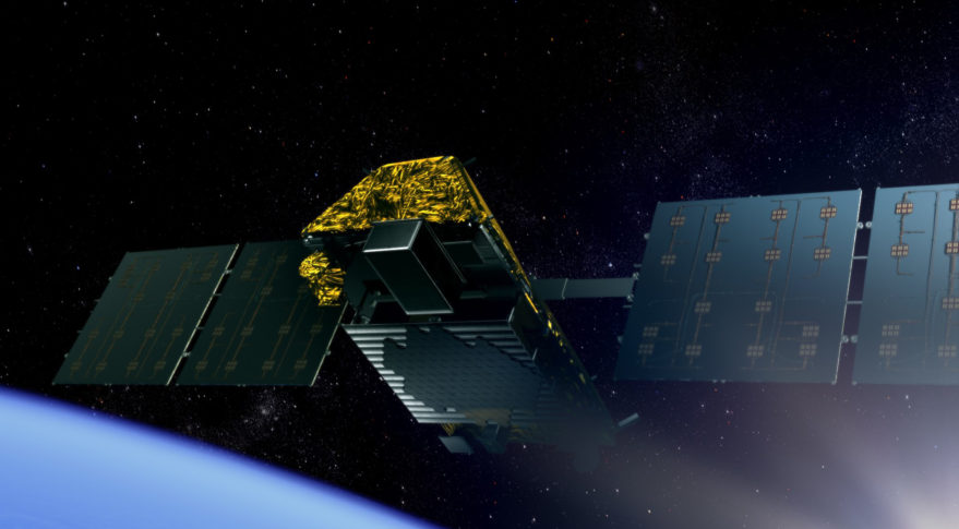 Artist view of an IRIDIUM NEXT satellite. The IRIDIUM NEXT operation is a modernisation programme of Iridium satellites. Iridium is a provider of mobile satellite communications services.