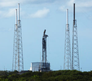 A damaged strongback can be seen in this Sept. 7 photo of Cape Canaveral's SLC-40, the site of SpaceX's Sept. 1 pre-flight Falcon 9 failure. Credit: SpaceNews/Jeff Foust
